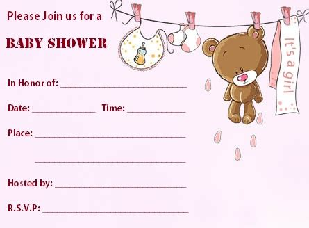 Teddy Baby Shower Invitation Template Free by Blank Baby Shower Invitations Baby Shower For Parents
