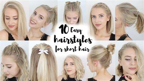 quick easy hairstyles for short hair for school 10 easy hairstyles for short hair youtube