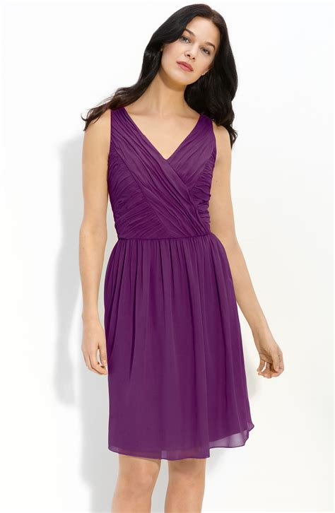 Ruched Dresses by Donna Ruched Chiffon Dress In Purple Grape Lyst