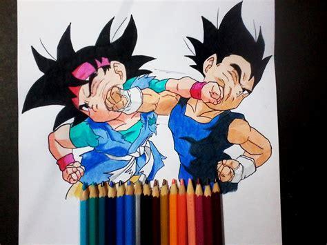 imágenes de goku junior dibujando a goku jr vs vegeta jr dragon ball gt
