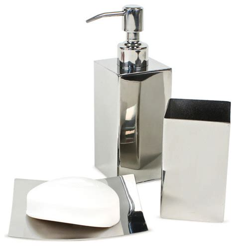 Polished Chrome Bathroom Accessory Set Modern Bathroom Contemporary Bathroom Accessory Sets