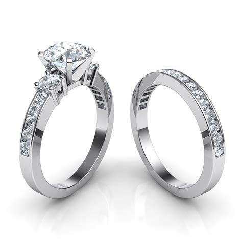 trilogy engagement ring and matching wedding band bridal set