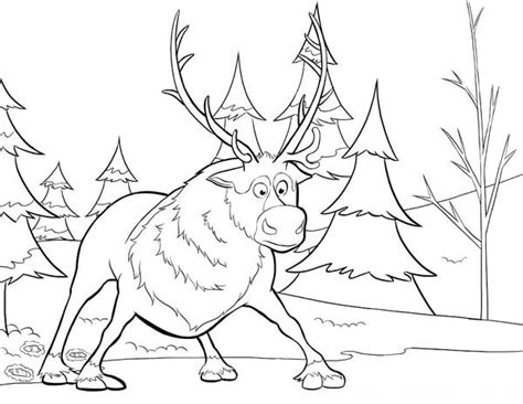 Sven Outline by Free Coloring Pages Of Sven And Kristoff Frozen