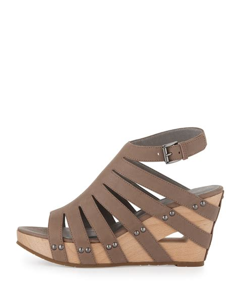 taupe sandals eileen fisher lotus strappy wedge sandal taupe in brown