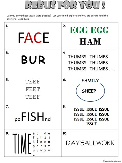 Printable Rebus Puzzle | rebus worksheet 1
