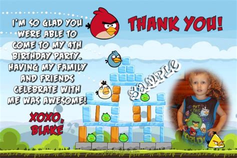 printable thank you card angry birds angry birds thank you cards