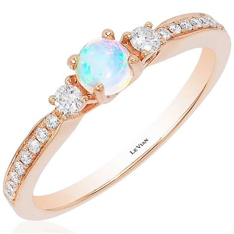 le vian 14ct strawberry gold chocolate opal stacking ring