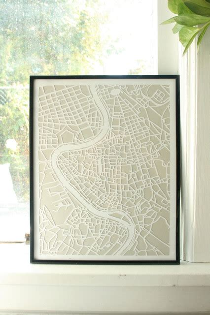 rome decoration hand hand cut paper map of rome by vellum and trace