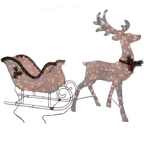 Outdoor Lighted Reindeer Decoration by Patio Lawn Garden Gifts Library