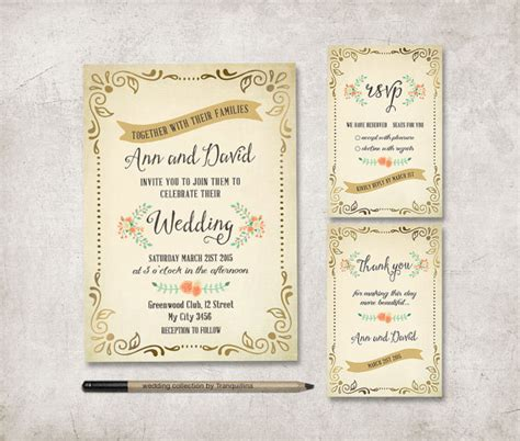 printable wedding invitation suites rustic wedding invitation printable wedding stationery