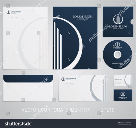 business card and letterhead vector stationery template real estate logo apartment stock