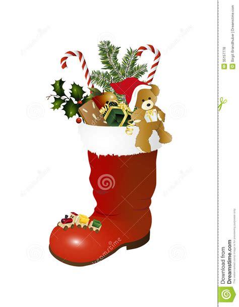 teddybear and christmas boots stock vector image 35157778