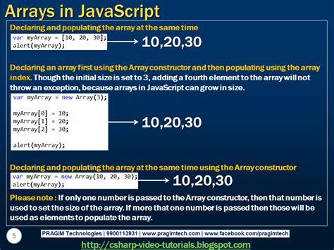 tutorial javascript in asp net sql server net and c video tutorial arrays in javascript