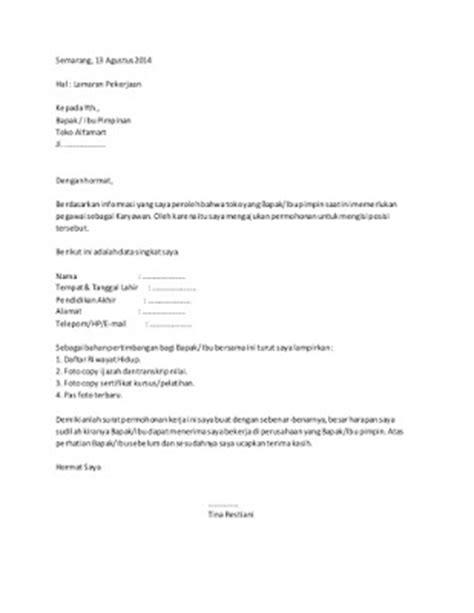contoh surat lamaran kerja karyawan toko ben