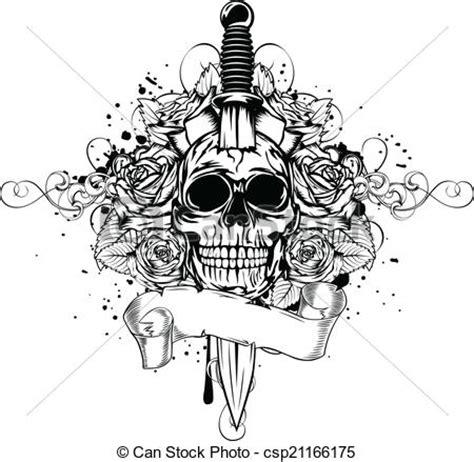 vectors illustration of skull dagger rose vector