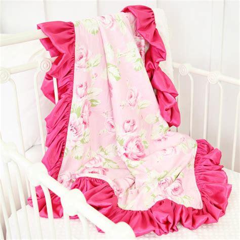 shabby chic roses pink satin ruffle blanket caden lane