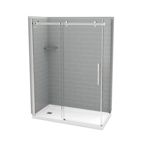 Direct Shower Door Reviews Utile By Maax 32 In X 60 In X 83 5 In Direct To Stud Left Corner Shower Kit In Metro Ash Grey