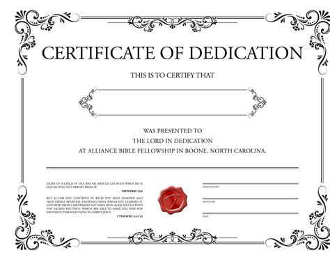 christian baby dedication certificate template grosir