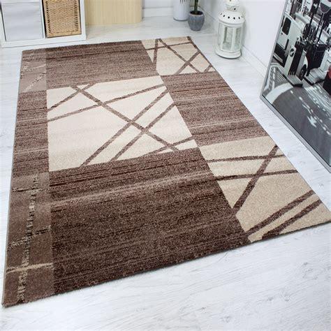teppich kurzflor moderner kurzflor designer teppich in braun und beige mit