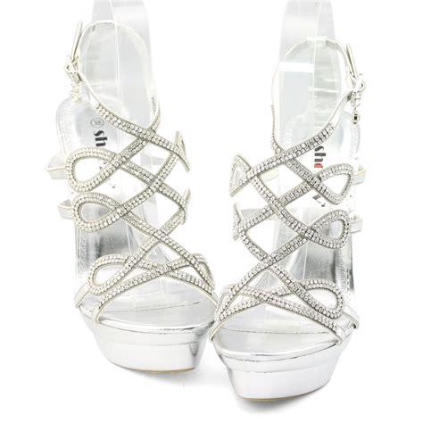 luxury womens silver platform diamante stiletto heels