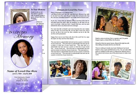 collage funeral memorial tri fold brochures ao glitter