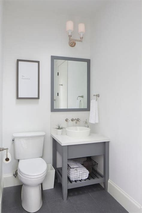 Small Round Bathroom Rugs Small Gray Washstand With Gray Parsons Mirror