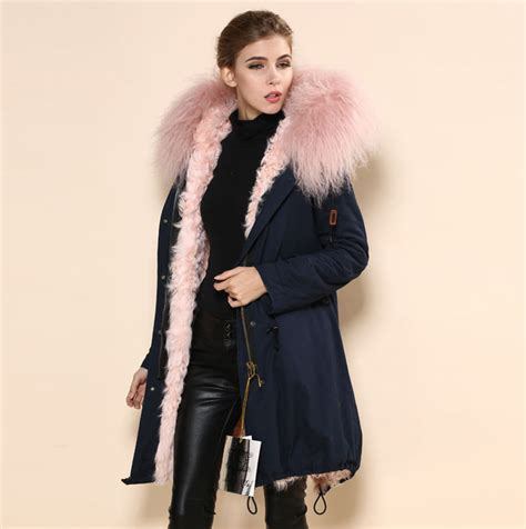 Coatjaket Azzura Pink Quality parka coat with fur han coats