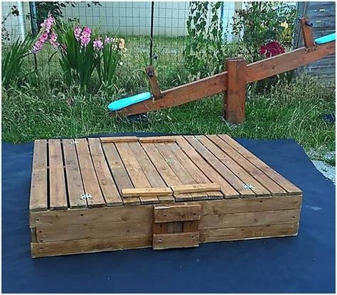 wooden sandbox with bench all in one pallets bench picnic table sandbox box