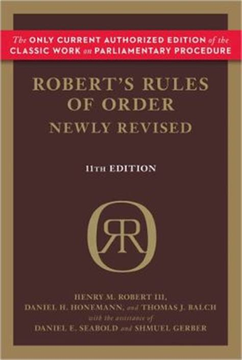 Robert S Rules Of Order Newly Revised 11th Edition By