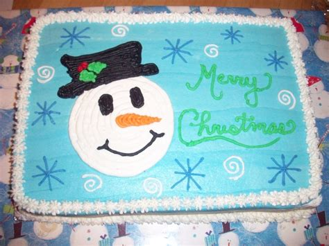 sheet cakes christmas decorated pictures snowman sheet cake cakecentral