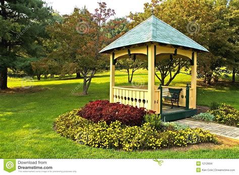 landscaping around gazebo stock images image 1212694