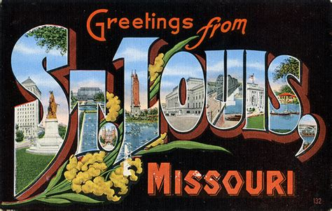 Food St Award Letter Missouri Greetings From St Louis Missouri Large Letter Postcard