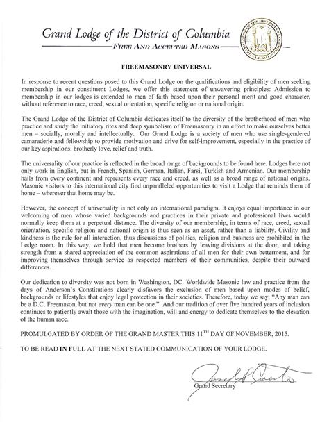 Zs Offer Letter glofdc issues statement concerning eligibility for masons