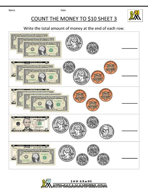 money money money worksheet 2nd grade math worksheets money free counting money worksheets count the money to 10 dollars 3