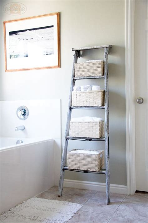 bathroom decorating with old ladder creative idea in using an old ladder as a decor piece in