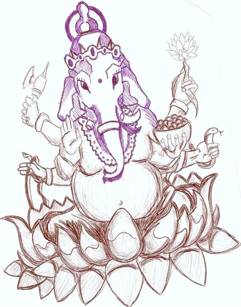 tattoo ganesha drawing outline lotus and ganesha tattoo design by shrilledgeep