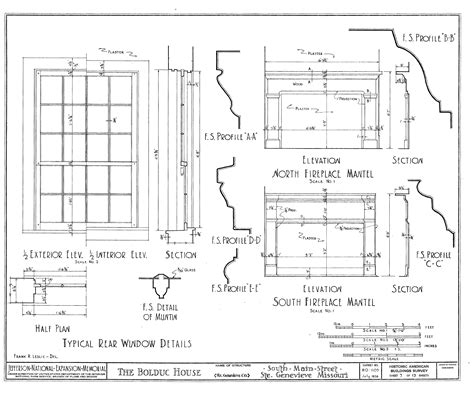 file drawing of windows and fireplaces in the bolduc house