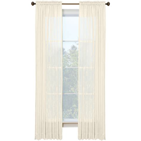 Lowes Curtain Panels Shop Style Selections Kenna 84 In Ivory Polyester Rod