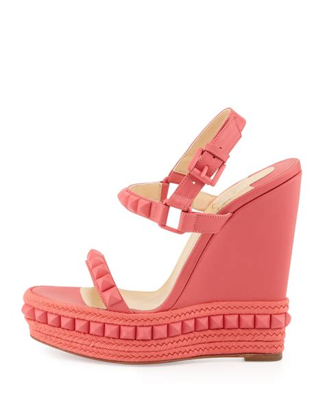 Wedges Baby Pink 4ps 01 christian louboutin cataclou studded metallic leather