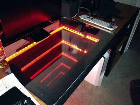 Diy Led Desk L Infinity Mirror Computer Desk To Infinity And Beyond Technabob