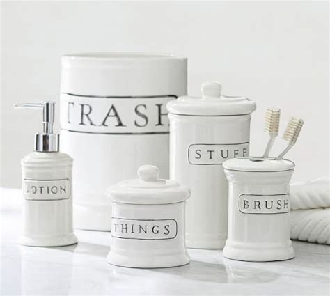 white ceramic bathroom accessories ceramic text bath accessories pottery barn