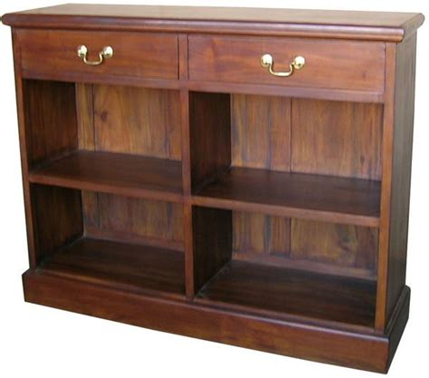 Low Bookcase Wood 2 Drawers Solid Mahogany Low Bookcase Antique Wooden