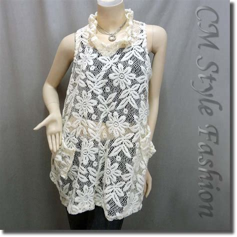 Beige Flower Pattern S M L Blouse 44298 sheer flower lace crochet a line flowy layered tunic top beige m l ebay