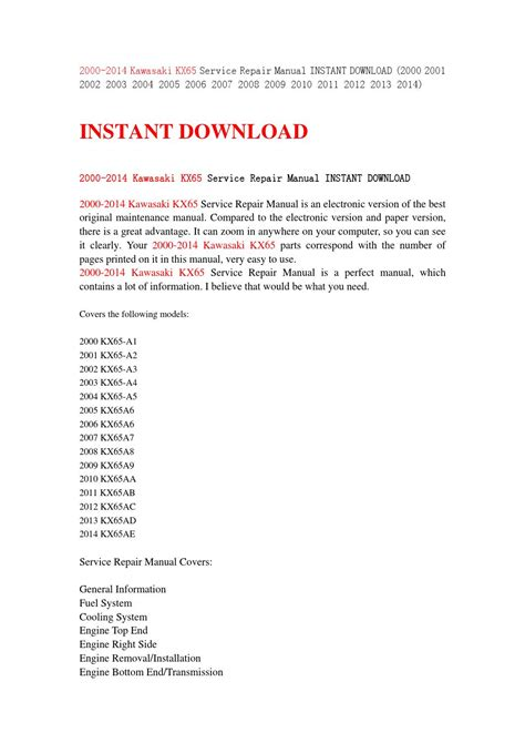 free download parts manuals 2012 audi a3 electronic toll collection 2000 2014 kawasaki kx65 service repair manual instant download 2000 2001 2002 2003 2004 2005