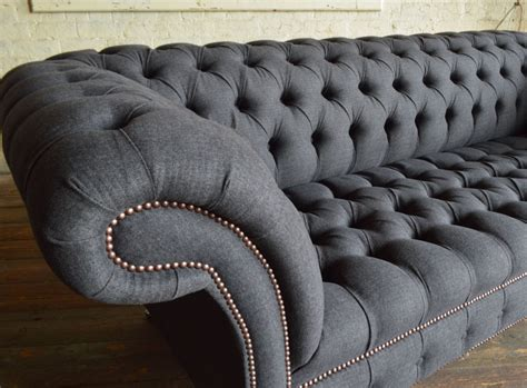 Gray Chesterfield Sofa Nuvo Charcoal Grey Wool 3 Seater Chesterfield Sofa Abode Sofas