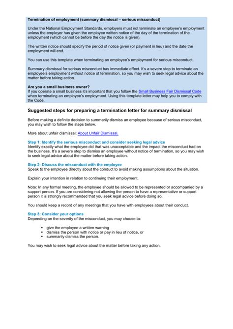 summary dismissal letter template termination of employment misconduct summary dismissal