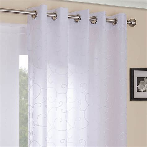 white lined voile eyelet curtains venice scroll white lined voile eyelet curtains