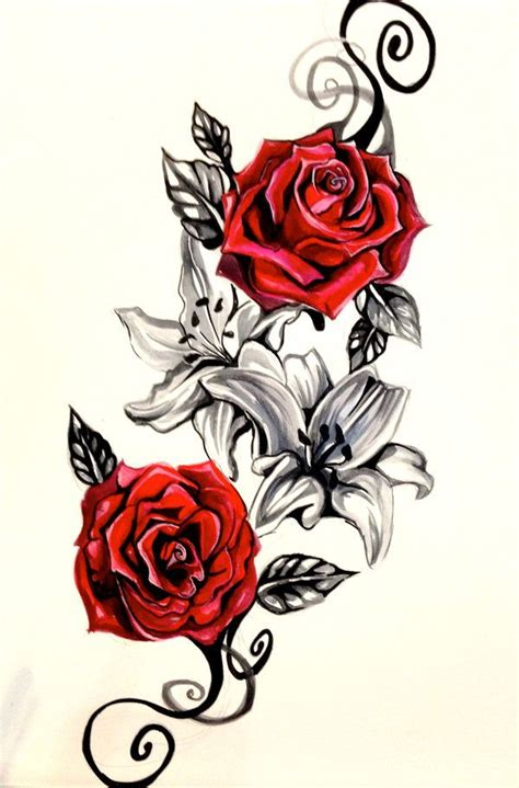 lilies and roses tattoos flowers and roses tattoos design