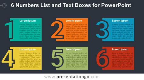 powerpoint list templates 6 numbers list and text boxes for powerpoint