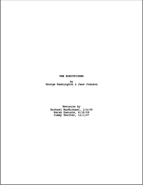 Script Title Page Template scriptfaze how to format a title page